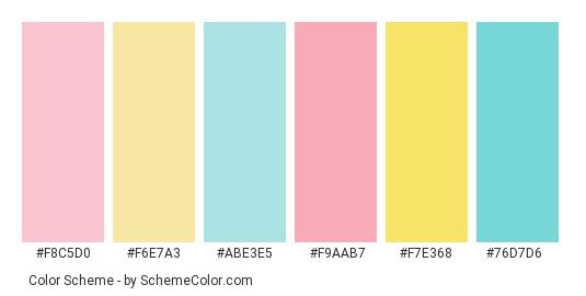 Pastel Mix Color Scheme Palette Thumbnail F8c5d0 F6e7a3 Abe3e5 F9aab7