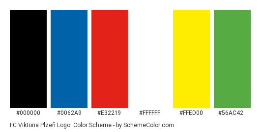 FC Viktoria Plzeň Logo - Color scheme palette thumbnail - #000000 #0062a9 #e32219 #ffffff #ffed00 #56ac42