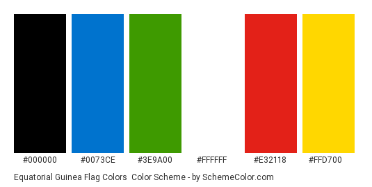 Equatorial Guinea Flag Colors - Color scheme palette thumbnail - #000000 #0073ce #3e9a00 #ffffff #e32118 #ffd700