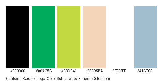 Canberra Raiders Logo - Color scheme palette thumbnail - #000000 #00ac5b #c3d941 #f3d5ba #ffffff #a1becf