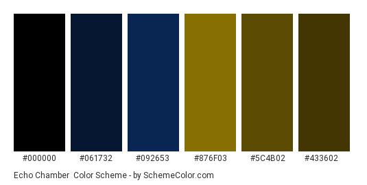 Echo Chamber - Color scheme palette thumbnail - #000000 #061732 #092653 #876f03 #5c4b02 #433602