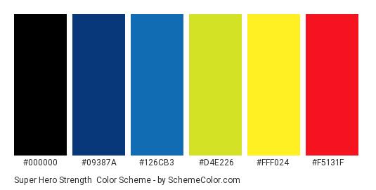 Super Hero Strength - Color scheme palette thumbnail - #000000 #09387a #126cb3 #d4e226 #fff024 #f5131f