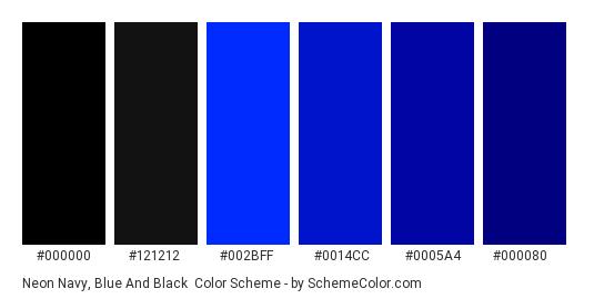 Neon Navy, Blue and Black - Color scheme palette thumbnail - #000000 #121212 #002bff #0014cc #0005a4 #000080