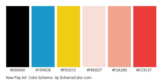 New Pop Art - Color scheme palette thumbnail - #000000 #1998cb #f0cd13 #f8ded7 #f2a28d #ec3c37