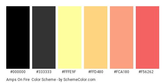 Amps on Fire - Color scheme palette thumbnail - #000000 #333333 #FFFE9F #FFD480 #FCA180 #F56262