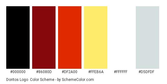 Doritos Logo - Color scheme palette thumbnail - #000000 #86080D #DF2A00 #FFEB6A #FFFFFF #D5DFDF