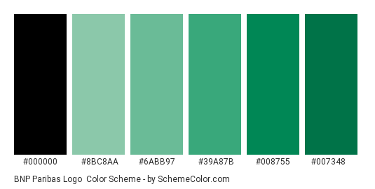 BNP Paribas Logo - Color scheme palette thumbnail - #000000 #8bc8aa #6abb97 #39a87b #008755 #007348