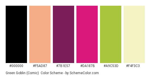 Green Goblin (Comic) - Color scheme palette thumbnail - #000000 #F5AD87 #7B1E57 #DA187B #A9C53D #F4F3C3