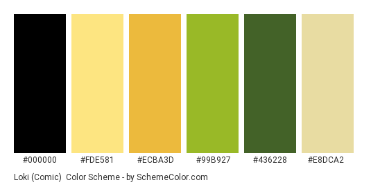 Loki (Comic) - Color scheme palette thumbnail - #000000 #FDE581 #ECBA3D #99B927 #436228 #E8DCA2