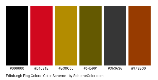 Edinburgh Flag Colors - Color scheme palette thumbnail - #000000 #d1081e #b38c00 #645901 #363636 #973b00
