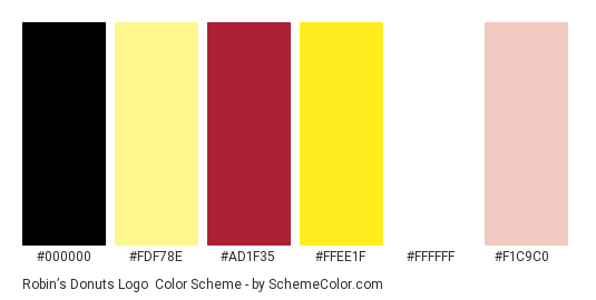 Robin's Donuts Logo - Color scheme palette thumbnail - #000000 #fdf78e #ad1f35 #ffee1f #ffffff #f1c9c0