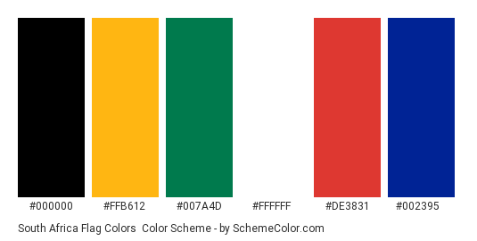 South Africa Flag Colors - Color scheme palette thumbnail - #000000 #ffb612 #007a4d #ffffff #de3831 #002395