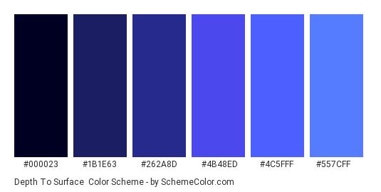 Depth to Surface - Color scheme palette thumbnail - #000023 #1B1E63 #262A8D #4B48ED #4C5FFF #557CFF