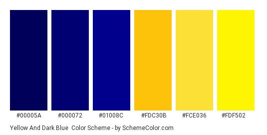 Yellow and Dark Blue - Color scheme palette thumbnail - #00005a #000072 #01008c #fdc30b #fce036 #fdf502