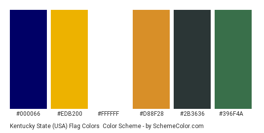 Kentucky State (USA) Flag Colors - Color scheme palette thumbnail - #000066 #edb200 #ffffff #d88f28 #2b3636 #396f4a