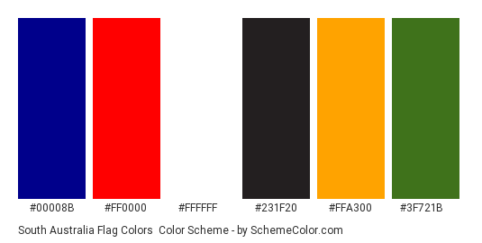 South Australia Flag Colors - Color scheme palette thumbnail - #00008B #FF0000 #FFFFFF #231F20 #FFA300 #3F721B