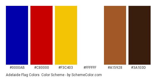 Adelaide Flag Colors - Color scheme palette thumbnail - #0000AB #C80000 #F3C403 #FFFFFF #A15928 #3A1E0D