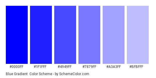 Blue Gradient - Color scheme palette thumbnail - #0000ff #1f1fff #4949ff #7879ff #a3a3ff #bfbfff