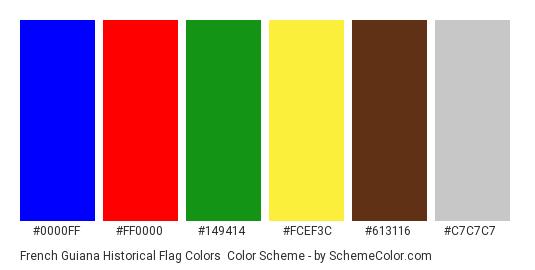 French Guiana Historical Flag Colors - Color scheme palette thumbnail - #0000ff #ff0000 #149414 #fcef3c #613116 #c7c7c7