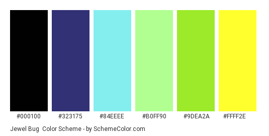 Jewel Bug - Color scheme palette thumbnail - #000100 #323175 #84EEEE #B0FF90 #9DEA2A #FFFF2E