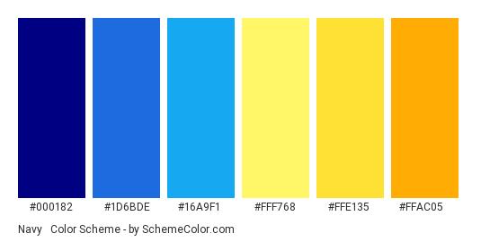 Navy & Yellow Special - Color scheme palette thumbnail - #000182 #1D6BDE #16A9F1 #FFF768 #FFE135 #FFAC05