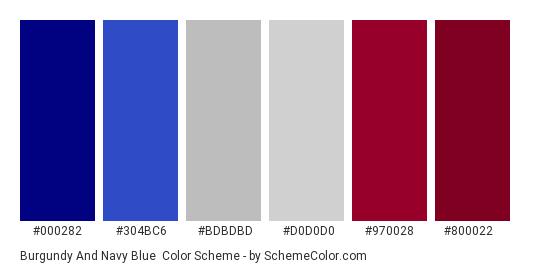 Burgundy and Navy Blue - Color scheme palette thumbnail - #000282 #304BC6 #BDBDBD #D0D0D0 #970028 #800022