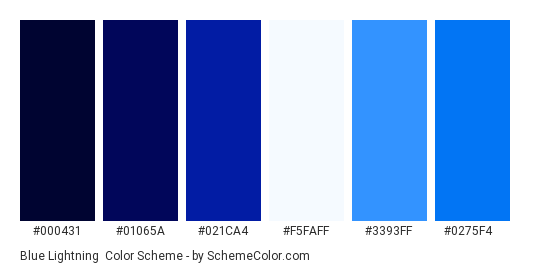 Blue Lightning - Color scheme palette thumbnail - #000431 #01065a #021ca4 #f5faff #3393ff #0275f4