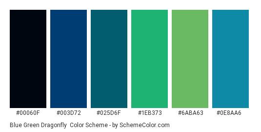 Blue Green Dragonfly - Color scheme palette thumbnail - #00060F #003D72 #025D6F #1EB373 #6ABA63 #0E8AA6