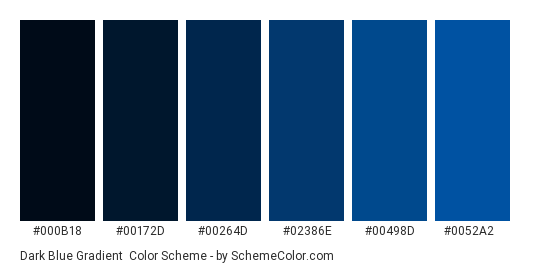 Dark Blue Grant Color Scheme Palette Thumbnail 000b18 00172d 00264d