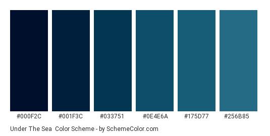 Under the Sea - Color scheme palette thumbnail - #000f2c #001f3c #033751 #0e4e6a #175d77 #256b85