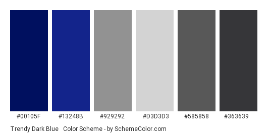 Trendy Dark Blue & Gray - Color scheme palette thumbnail - #00105f #13248b #929292 #d3d3d3 #585858 #363639