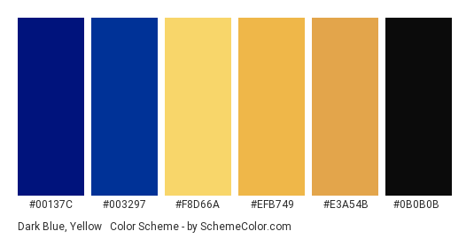 Dark Blue, Yellow & Black - Color scheme palette thumbnail - #00137c #003297 #f8d66a #efb749 #e3a54b #0b0b0b