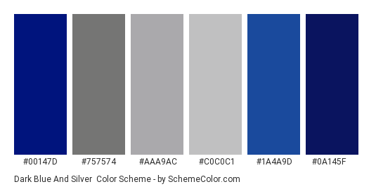 Dark Blue and Silver - Color scheme palette thumbnail - #00147D #757574 #AAA9AC #C0C0C1 #1a4a9d #0a145f