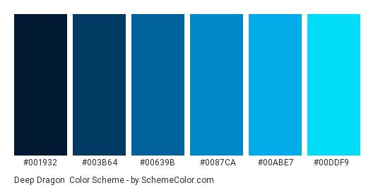 Deep Dragon - Color scheme palette thumbnail - #001932 #003B64 #00639B #0087CA #00ABE7 #00DDF9