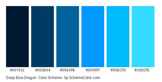 Deep Blue Dragon - Color scheme palette thumbnail - #001932 #003B64 #00639B #0099FF #00BCFD #33DCFE