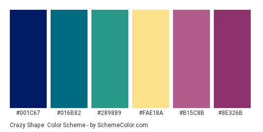 Crazy Shape - Color scheme palette thumbnail - #001C67 #016B82 #289889 #FAE18A #B15C8B #8E326B