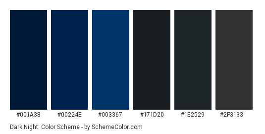 Dark Night - Color scheme palette thumbnail - #001a38 #00224e #003367 #171d20 #1e2529 #2f3133