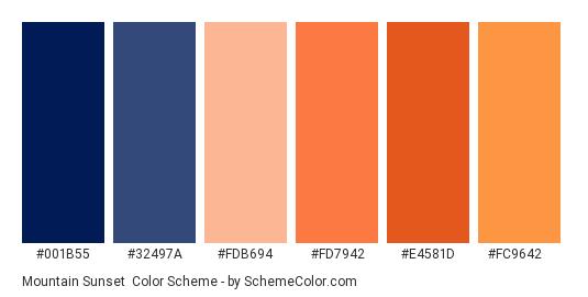 Mountain Sunset - Color scheme palette thumbnail - #001b55 #32497a #fdb694 #fd7942 #e4581d #fc9642