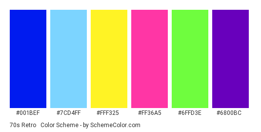 70s Retro #5 - Color scheme palette thumbnail - #001bef #7cd4ff #fff325 #ff36a5 #6ffd3e #6800bc