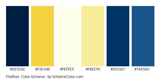 Fireflies - Color scheme palette thumbnail - #001d42 #f3d340 #feffe9 #f8ee99 #003367 #1a558c