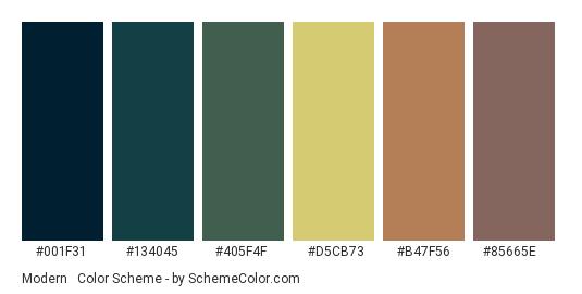 Modern & Classic - Color scheme palette thumbnail - #001f31 #134045 #405f4f #d5cb73 #b47f56 #85665e