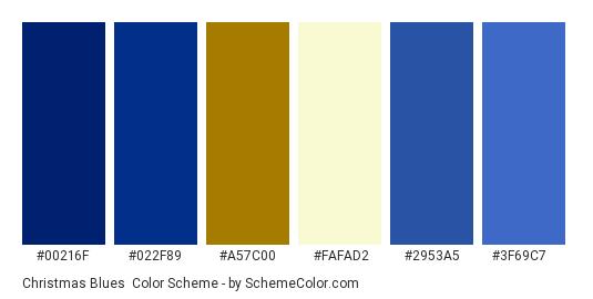 Christmas Blues - Color scheme palette thumbnail - #00216f #022f89 #a57c00 #fafad2 #2953a5 #3f69c7