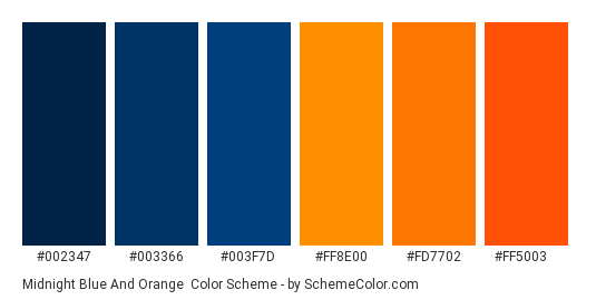 Midnight Blue and Orange - Color scheme palette thumbnail - #002347 #003366 #003f7d #ff8e00 #fd7702 #ff5003