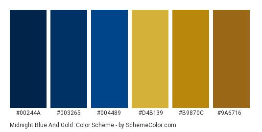 Midnight Blue and Gold - Color scheme palette thumbnail - #00244a #003265 #004489 #d4b139 #b9870c #9a6716