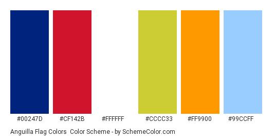 Anguilla Flag Colors - Color scheme palette thumbnail - #00247D #CF142B #FFFFFF #CCCC33 #FF9900 #99CCFF