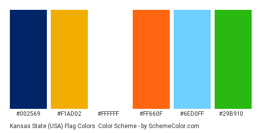 Kansas State (USA) Flag Colors - Color scheme palette thumbnail - #002569 #f1ad02 #ffffff #ff660f #6ed0ff #29b910