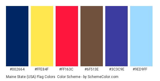 Maine State (USA) Flag Colors - Color scheme palette thumbnail - #002664 #ffe84f #ff163c #6f513e #3c3c9e #9ed9ff