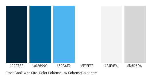 Frost Bank Web Site - Color scheme palette thumbnail - #00273e #02699c #50b6f2 #ffffff #f4f4f4 #d6d6d6