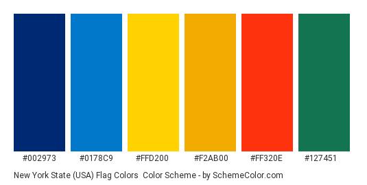 New York State (USA) Flag Colors - Color scheme palette thumbnail - #002973 #0178c9 #ffd200 #f2ab00 #ff320e #127451