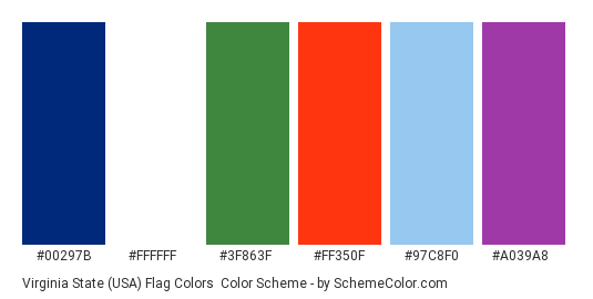 Virginia State (USA) Flag Colors - Color scheme palette thumbnail - #00297b #ffffff #3f863f #ff350f #97c8f0 #a039a8